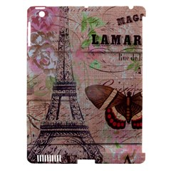 Girly Bee Crown  Butterfly Paris Eiffel Tower Fashion Apple Ipad 3/4 Hardshell Case (compatible With Smart Cover) by chicelegantboutique