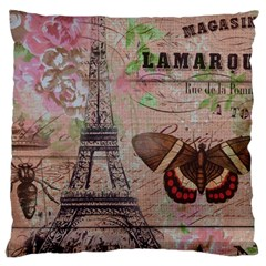 Girly Bee Crown  Butterfly Paris Eiffel Tower Fashion Large Cushion Case (two Sided)  by chicelegantboutique