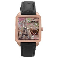 Girly Bee Crown  Butterfly Paris Eiffel Tower Fashion Rose Gold Leather Watch  by chicelegantboutique