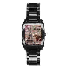 Girly Bee Crown  Butterfly Paris Eiffel Tower Fashion Men s Stainless Steel Barrel Analog Watch