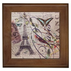 Paris Eiffel Tower Vintage Bird Butterfly French Botanical Art Framed Ceramic Tile by chicelegantboutique