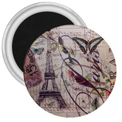 Paris Eiffel Tower Vintage Bird Butterfly French Botanical Art 3  Button Magnet