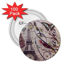 Paris Eiffel Tower Vintage Bird Butterfly French Botanical Art 2 25  Button (100 Pack) by chicelegantboutique