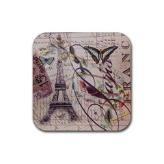 Paris Eiffel Tower Vintage Bird Butterfly French Botanical Art Drink Coaster (square) by chicelegantboutique