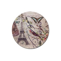 Paris Eiffel Tower Vintage Bird Butterfly French Botanical Art Magnet 3  (round) by chicelegantboutique