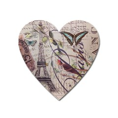 Paris Eiffel Tower Vintage Bird Butterfly French Botanical Art Magnet (heart) by chicelegantboutique