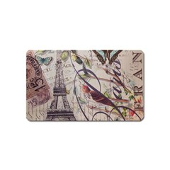 Paris Eiffel Tower Vintage Bird Butterfly French Botanical Art Magnet (name Card) by chicelegantboutique