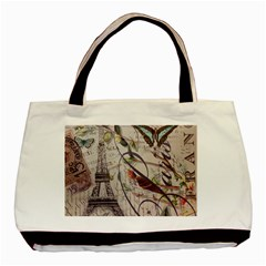 Paris Eiffel Tower Vintage Bird Butterfly French Botanical Art Classic Tote Bag