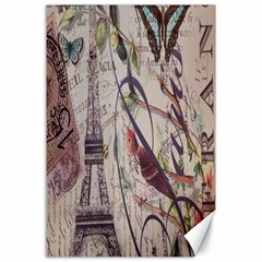 Paris Eiffel Tower Vintage Bird Butterfly French Botanical Art Canvas 24  X 36  (unframed) by chicelegantboutique