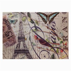 Paris Eiffel Tower Vintage Bird Butterfly French Botanical Art Glasses Cloth (large, Two Sided) by chicelegantboutique
