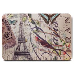 Paris Eiffel Tower Vintage Bird Butterfly French Botanical Art Large Door Mat by chicelegantboutique