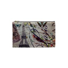 Paris Eiffel Tower Vintage Bird Butterfly French Botanical Art Cosmetic Bag (small) by chicelegantboutique