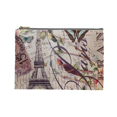 Paris Eiffel Tower Vintage Bird Butterfly French Botanical Art Cosmetic Bag (large)