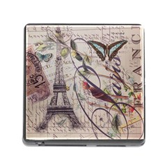 Paris Eiffel Tower Vintage Bird Butterfly French Botanical Art Memory Card Reader With Storage (square) by chicelegantboutique