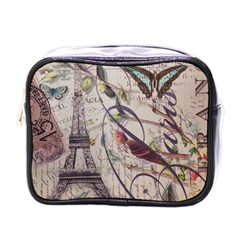 Paris Eiffel Tower Vintage Bird Butterfly French Botanical Art Mini Travel Toiletry Bag (one Side) by chicelegantboutique