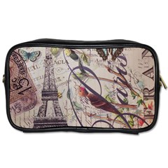 Paris Eiffel Tower Vintage Bird Butterfly French Botanical Art Travel Toiletry Bag (two Sides) by chicelegantboutique