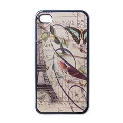 Paris Eiffel Tower Vintage Bird Butterfly French Botanical Art Apple Iphone 4 Case (black) by chicelegantboutique