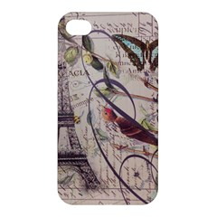 Paris Eiffel Tower Vintage Bird Butterfly French Botanical Art Apple Iphone 4/4s Hardshell Case by chicelegantboutique