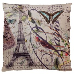 Paris Eiffel Tower Vintage Bird Butterfly French Botanical Art Large Cushion Case (two Sided)  by chicelegantboutique