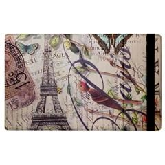 Paris Eiffel Tower Vintage Bird Butterfly French Botanical Art Apple Ipad 2 Flip Case by chicelegantboutique