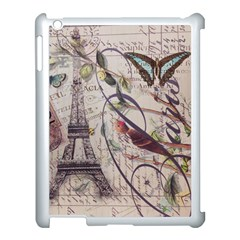 Paris Eiffel Tower Vintage Bird Butterfly French Botanical Art Apple Ipad 3/4 Case (white) by chicelegantboutique