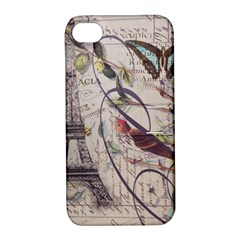 Paris Eiffel Tower Vintage Bird Butterfly French Botanical Art Apple Iphone 4/4s Hardshell Case With Stand by chicelegantboutique