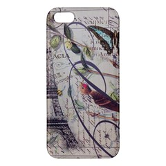Paris Eiffel Tower Vintage Bird Butterfly French Botanical Art Iphone 5 Premium Hardshell Case by chicelegantboutique