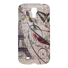 Paris Eiffel Tower Vintage Bird Butterfly French Botanical Art Samsung Galaxy S4 I9500/i9505 Hardshell Case by chicelegantboutique