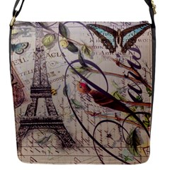 Paris Eiffel Tower Vintage Bird Butterfly French Botanical Art Flap Closure Messenger Bag (small) by chicelegantboutique