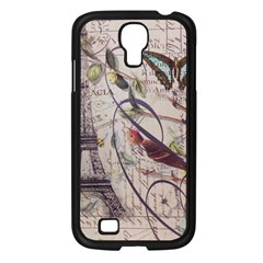 Paris Eiffel Tower Vintage Bird Butterfly French Botanical Art Samsung Galaxy S4 I9500/ I9505 (black) by chicelegantboutique
