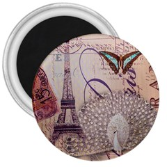 White Peacock Paris Eiffel Tower Vintage Bird Butterfly French Botanical Art 3  Button Magnet by chicelegantboutique
