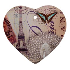 White Peacock Paris Eiffel Tower Vintage Bird Butterfly French Botanical Art Heart Ornament by chicelegantboutique