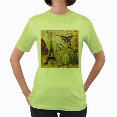 White Peacock Paris Eiffel Tower Vintage Bird Butterfly French Botanical Art Womens  T Shirt (green) by chicelegantboutique