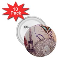 White Peacock Paris Eiffel Tower Vintage Bird Butterfly French Botanical Art 1 75  Button (10 Pack) by chicelegantboutique