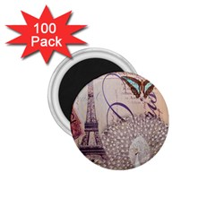 White Peacock Paris Eiffel Tower Vintage Bird Butterfly French Botanical Art 1 75  Button Magnet (100 Pack)