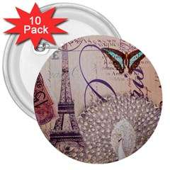 White Peacock Paris Eiffel Tower Vintage Bird Butterfly French Botanical Art 3  Button (10 Pack) by chicelegantboutique