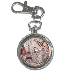 White Peacock Paris Eiffel Tower Vintage Bird Butterfly French Botanical Art Key Chain & Watch by chicelegantboutique
