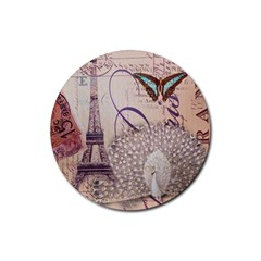 White Peacock Paris Eiffel Tower Vintage Bird Butterfly French Botanical Art Drink Coaster (round) by chicelegantboutique