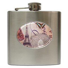 White Peacock Paris Eiffel Tower Vintage Bird Butterfly French Botanical Art Hip Flask by chicelegantboutique