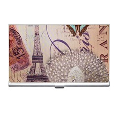 White Peacock Paris Eiffel Tower Vintage Bird Butterfly French Botanical Art Business Card Holder by chicelegantboutique