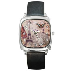 White Peacock Paris Eiffel Tower Vintage Bird Butterfly French Botanical Art Square Leather Watch by chicelegantboutique