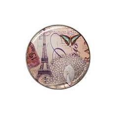 White Peacock Paris Eiffel Tower Vintage Bird Butterfly French Botanical Art Golf Ball Marker 4 Pack (for Hat Clip) by chicelegantboutique
