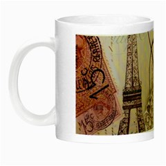White Peacock Paris Eiffel Tower Vintage Bird Butterfly French Botanical Art Glow In The Dark Mug by chicelegantboutique