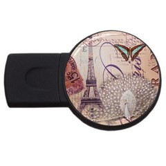 White Peacock Paris Eiffel Tower Vintage Bird Butterfly French Botanical Art 4gb Usb Flash Drive (round) by chicelegantboutique