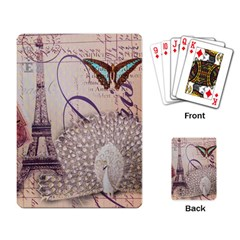 White Peacock Paris Eiffel Tower Vintage Bird Butterfly French Botanical Art Playing Cards Single Design by chicelegantboutique