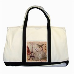 White Peacock Paris Eiffel Tower Vintage Bird Butterfly French Botanical Art Two Toned Tote Bag by chicelegantboutique