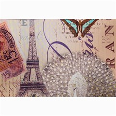 White Peacock Paris Eiffel Tower Vintage Bird Butterfly French Botanical Art Canvas 20  X 30  (unframed) by chicelegantboutique