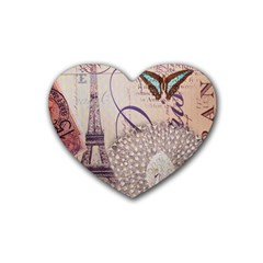 White Peacock Paris Eiffel Tower Vintage Bird Butterfly French Botanical Art Drink Coasters (heart) by chicelegantboutique