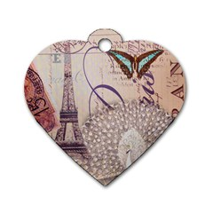 White Peacock Paris Eiffel Tower Vintage Bird Butterfly French Botanical Art Dog Tag Heart (two Sided) by chicelegantboutique