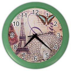 White Peacock Paris Eiffel Tower Vintage Bird Butterfly French Botanical Art Wall Clock (color)